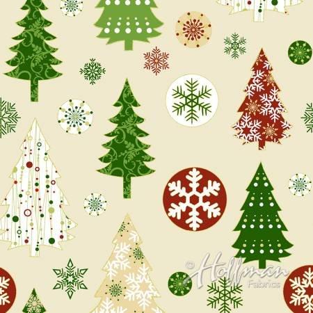 Red & Green Trees & Snowflakes - Metallic Gold