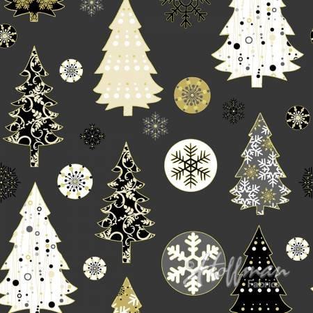 Black Trees & Snowflakes - Metallic Gold