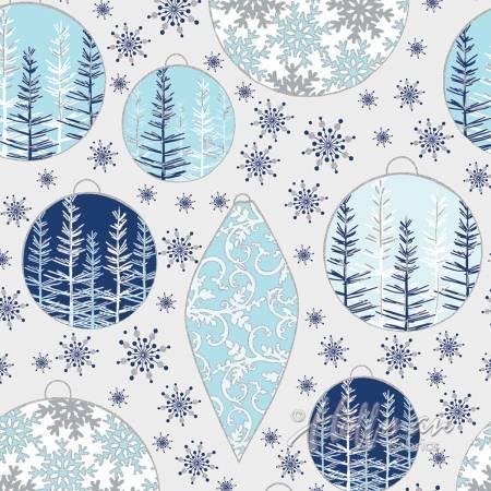 Blue Christmas Ornaments - Metallic Silver