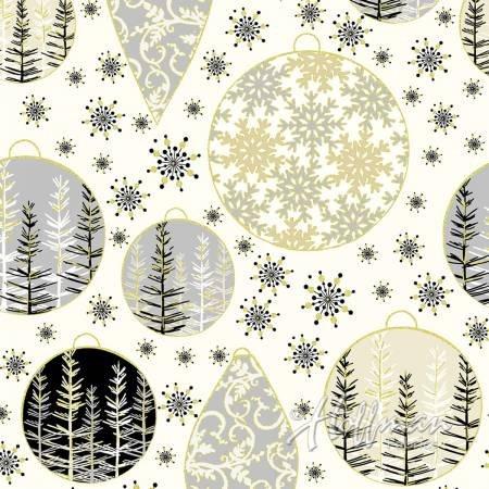 Black Christmas Ornaments - Metallic Gold