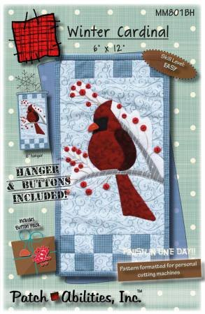 Winter Cardinal Pattern with Embellishments and Hanger