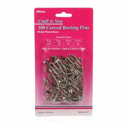 Curved Safety Pins Size 1 & 2 100ct