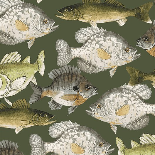2017 Quilt Minnesota Fish - Dark Khaki