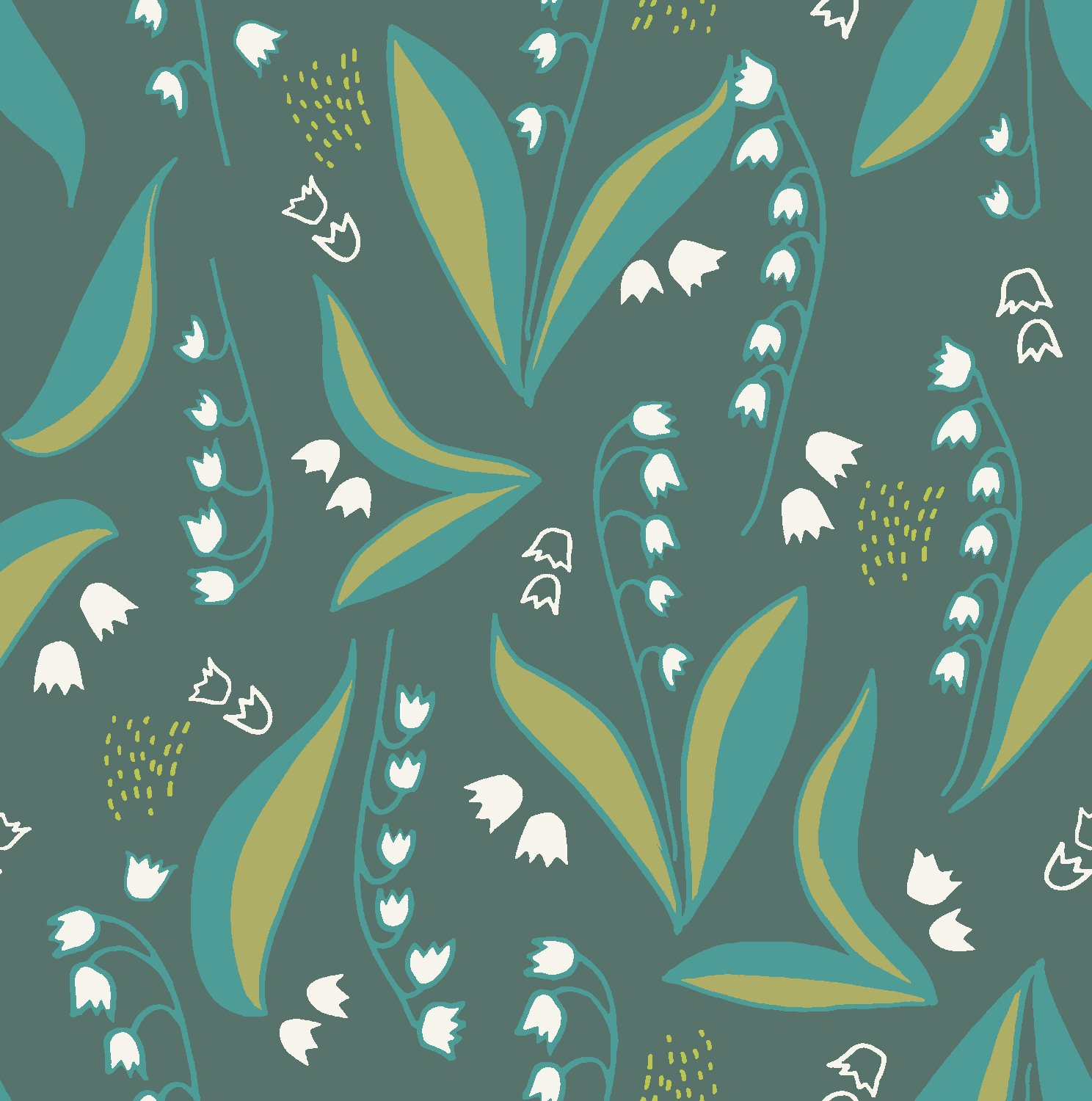 2018 Quilt Minnesota Lily of the Valley - Dark Teal