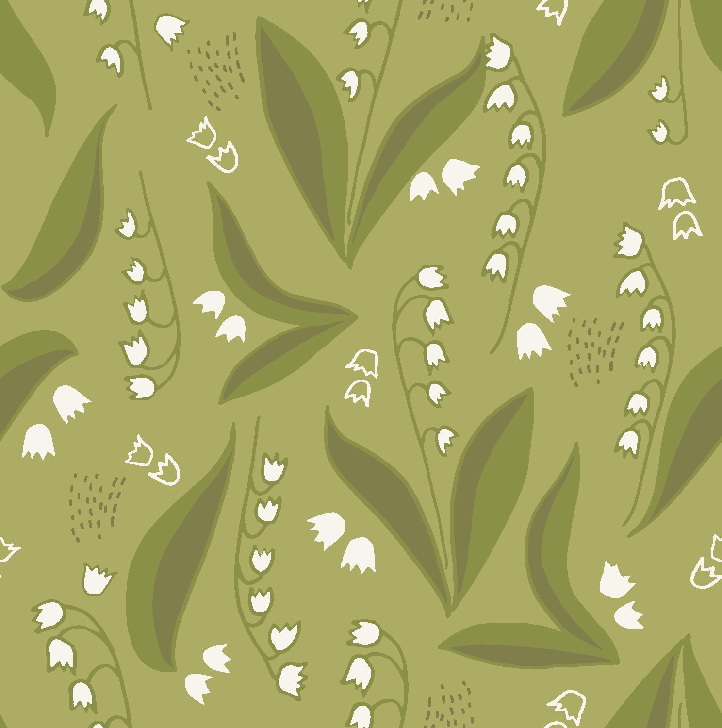 2018 Quilt Minnesota Lily of the Valley - Dark Olive