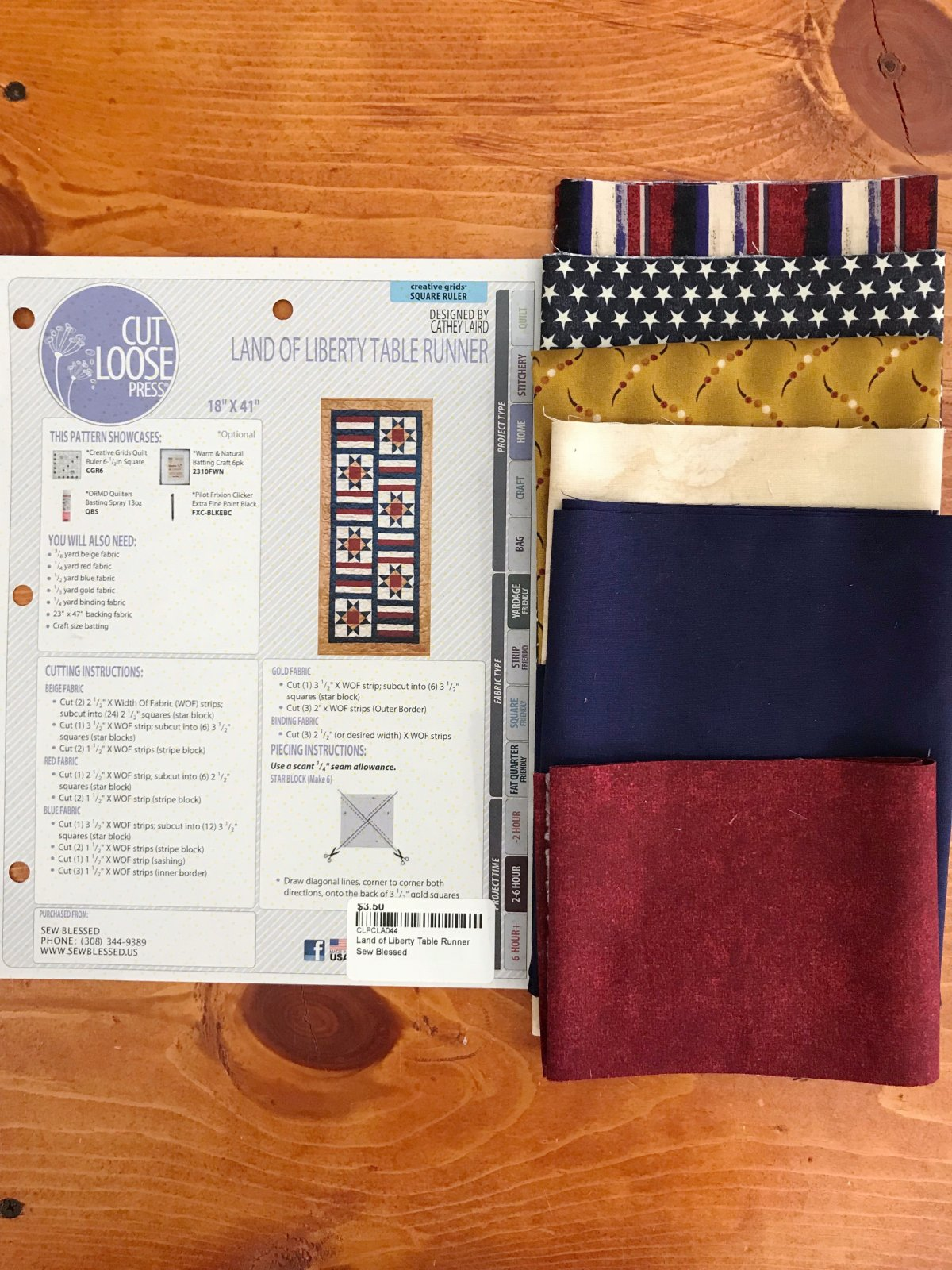 Land of Liberty Table Runner Kit