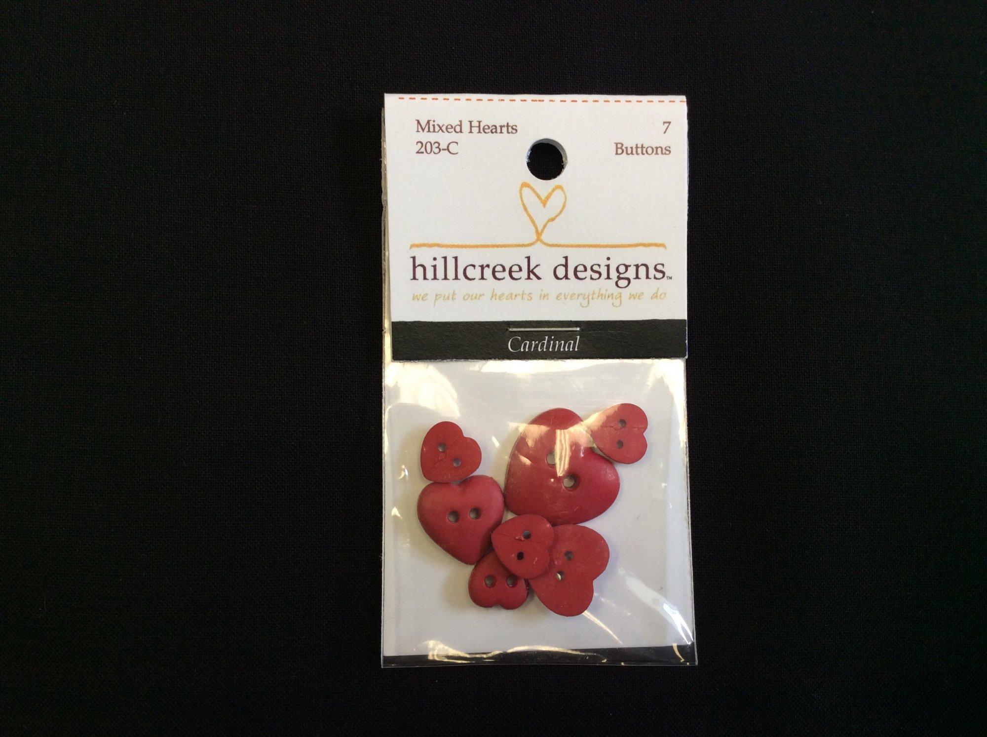 203-C Buttons Mixed Hearts Cardinal