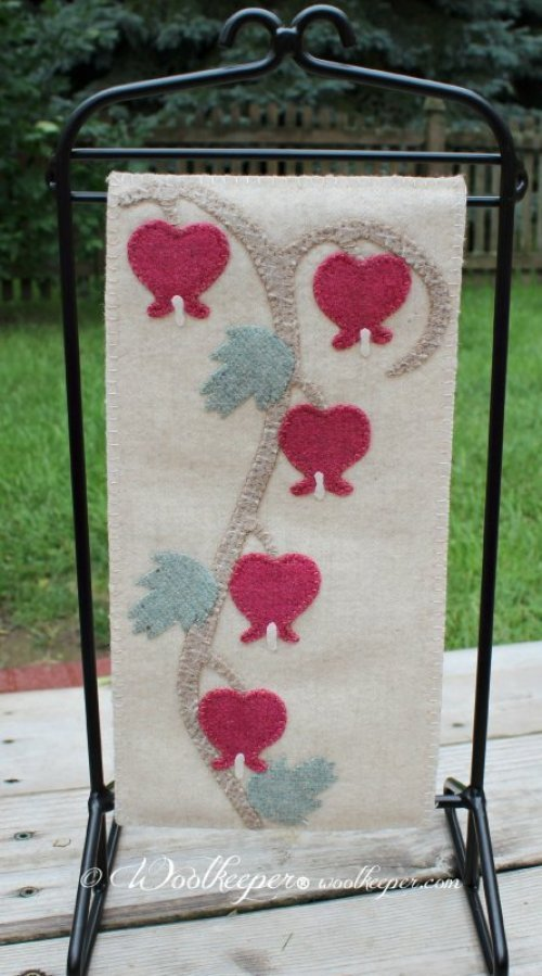 Old Fashioned Bleeding Hearts Wool Banner
