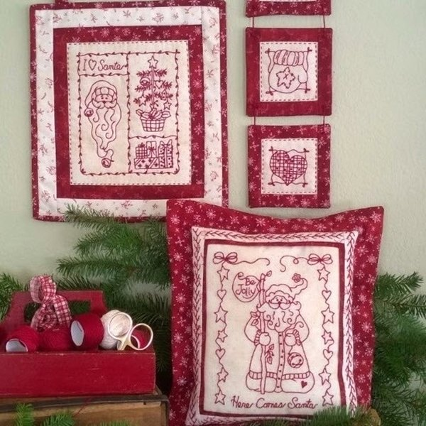 Santa Is Coming Redwork Embroidery Kit