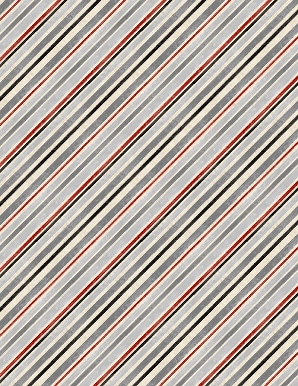 Diagonal Stripe Gray/Red Holiday in the Woods 3024-88643-993
