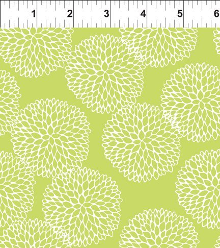 Doodle Blossoms Chrysanthemums Lime 8DB 2