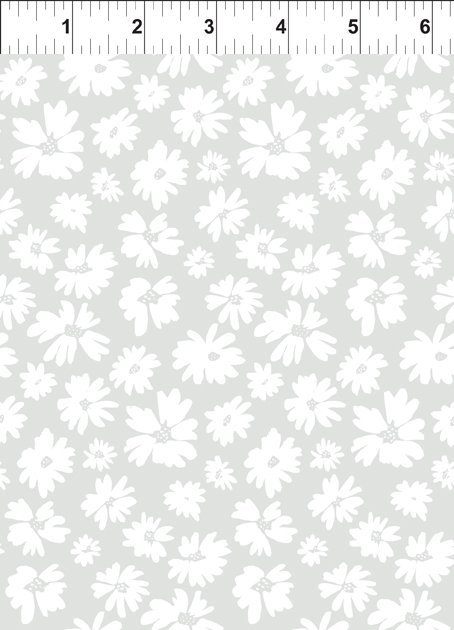 Doodle Blossoms Wildflowers Light Gray 9DB 1