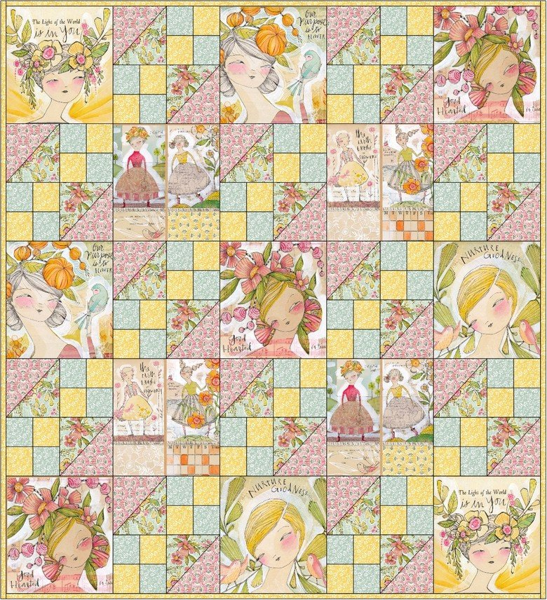In the Garden Quilt kit Bloom & Grow Fabric