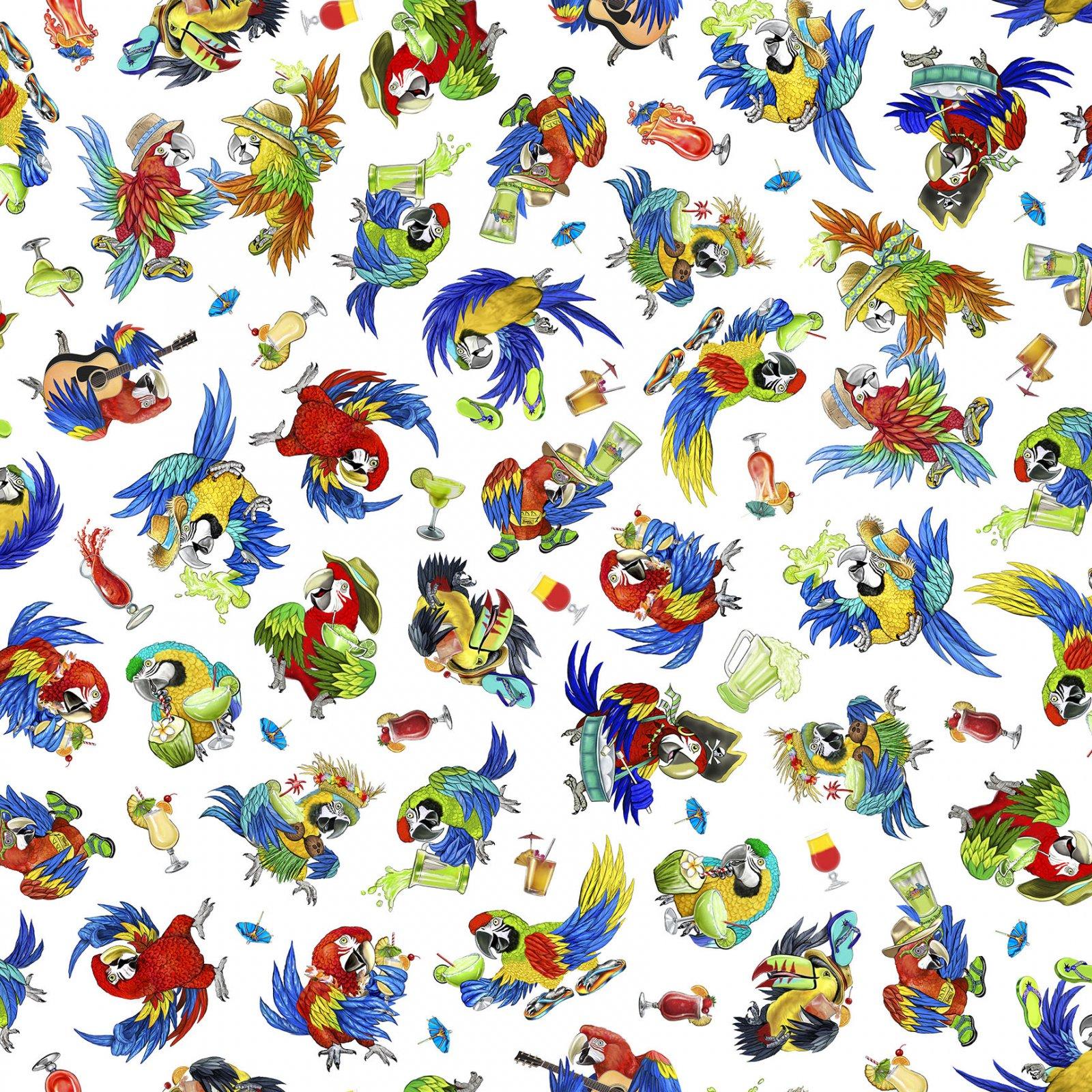 Margaritaville - Parrots on White