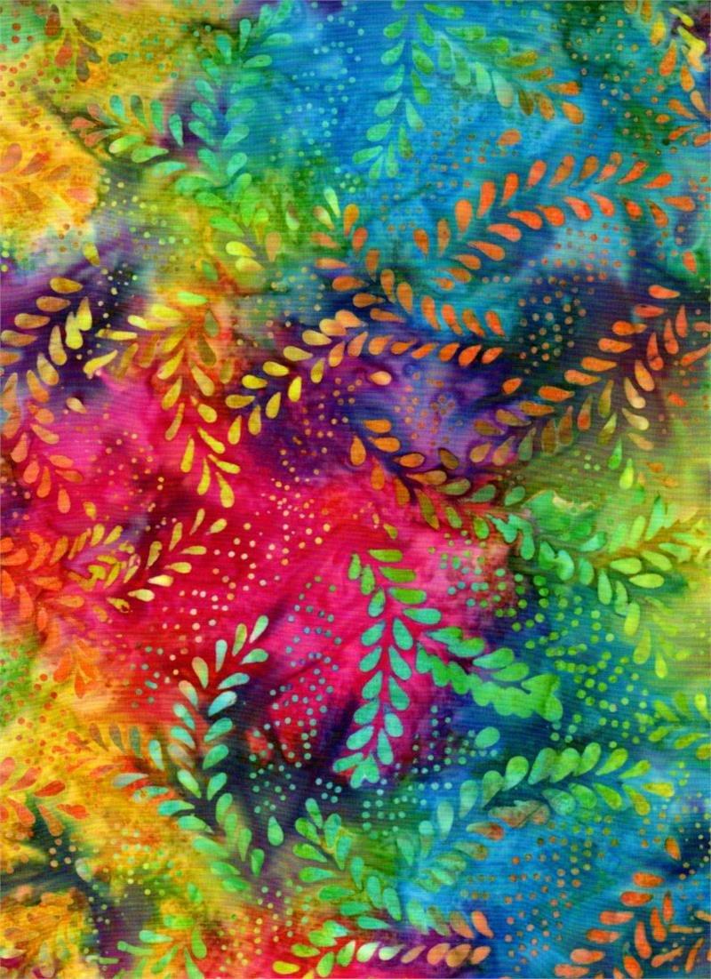 Batik Textiles - Venus, Gattails, & Moon Bayou - Mulit Ferns