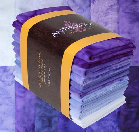 12-02 Tonal Fat Quarter Bundle batik solids--blue-violet