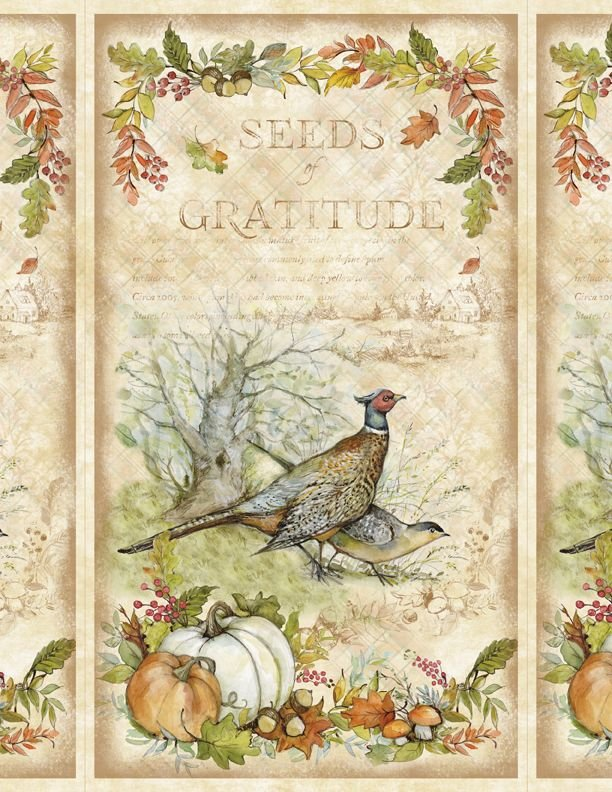3023-39653-278 SEEDS OF GRATITUDE--large panel, multi