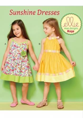 EMD232 Sunshine Dresses  Girls Lined Dresses with Contrast Bands # EMD232