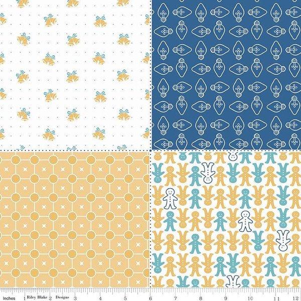FQP7974-NAVY Cozy Christmas-Cozy Fat Quarter Panel Blue
