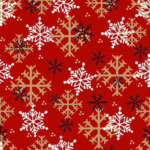 F-9268-88 Flannel Gnomies-- Snowflake Red