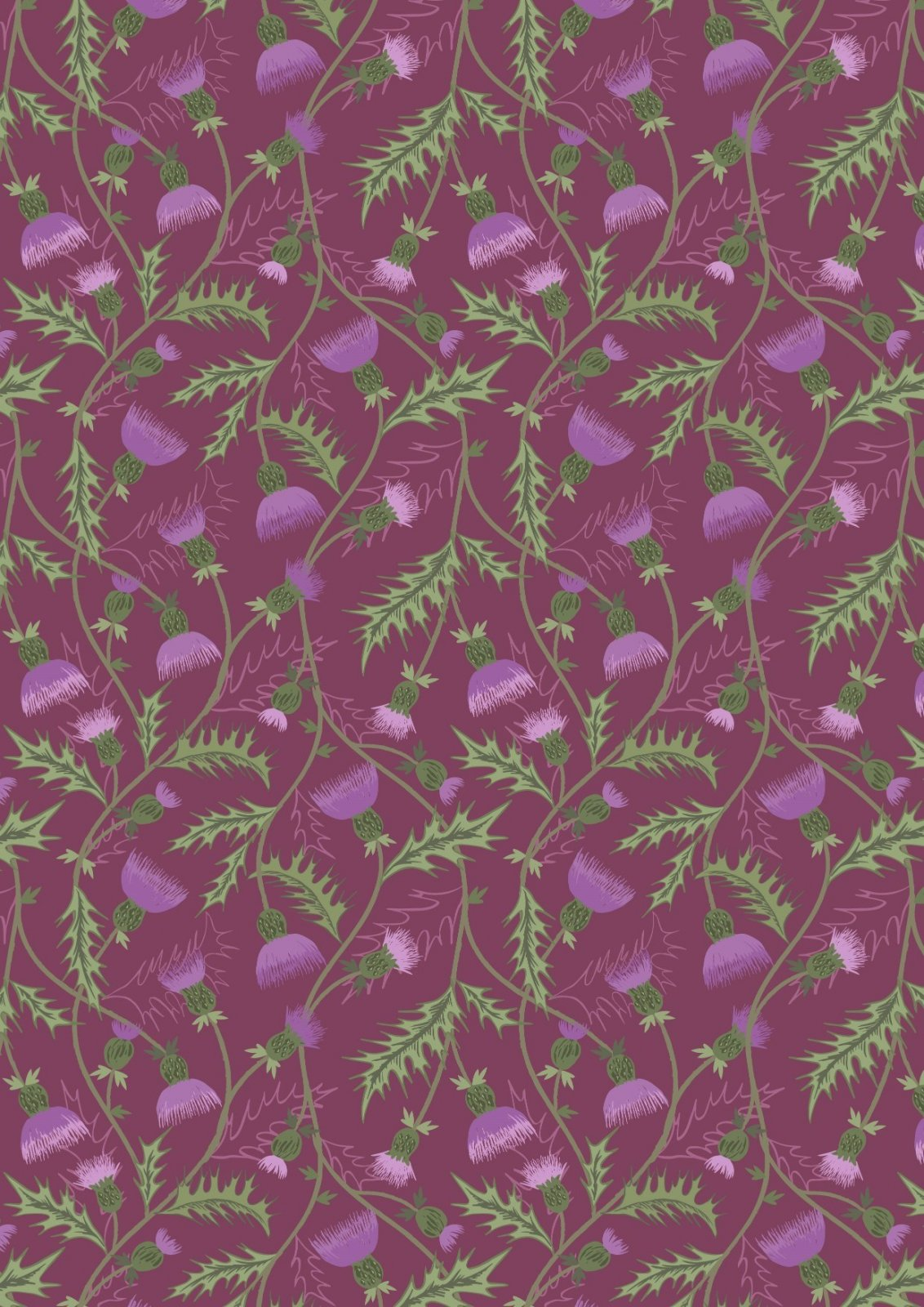 LEWIS & IRENE A415-2 ALL OVER THISTLE PURPLE