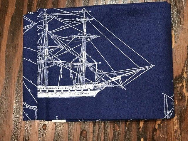 Fat Quarter - Riley Blake ship blueprints on blue