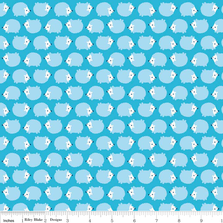 F4143-BLUE FLANNEL HEDGEHOGS