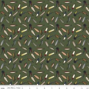 CABIN FEVER F7148-GREEN FLIES FLANNEL