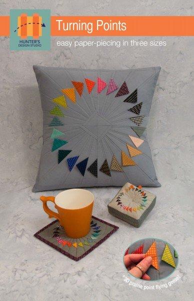 HUNTER'S DESIGN STUDIO - Turning Points - pillow, mug rug & pin cushion pattern