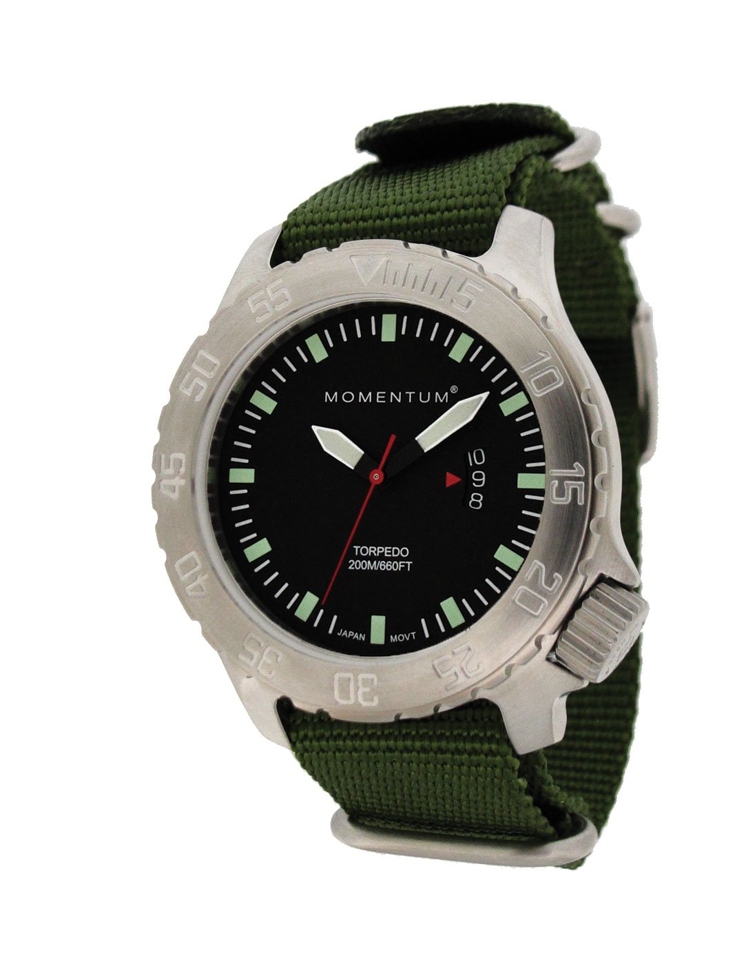 MOMENTUM Watch -  Torpedo With Nylon Green Band