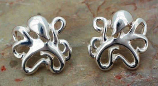 BIG BLUE by Roland St John Sterling Silver Leggs Octopus Earrings