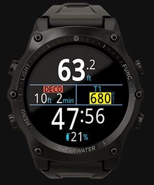 SHEARWATER Teric Air-Integrated Wrist Dive Computer (Transmitter sold separately)