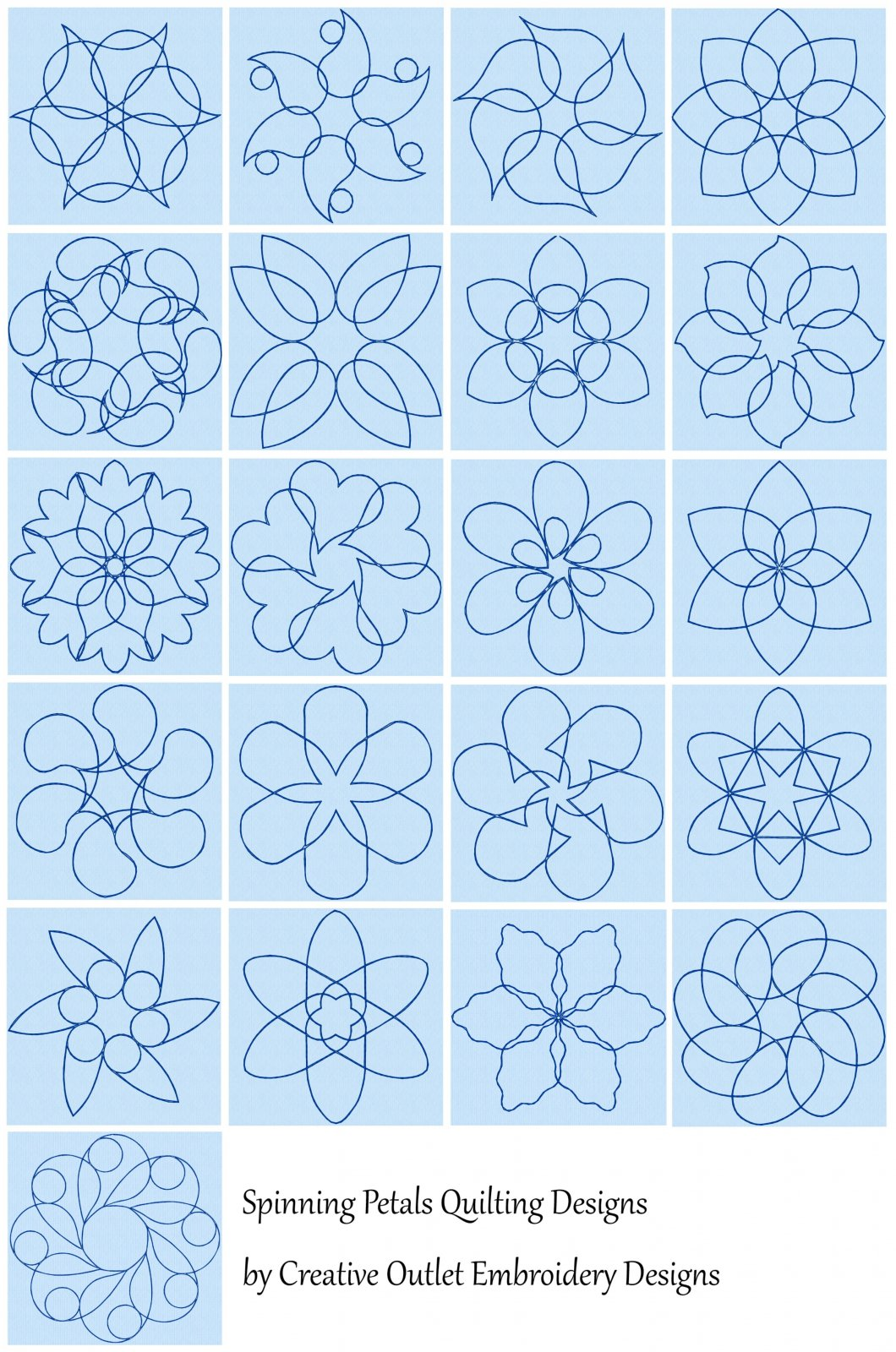 21 Spinning Petals Quilting Embroidery Designs by Creative Outlet Embroidery Designs