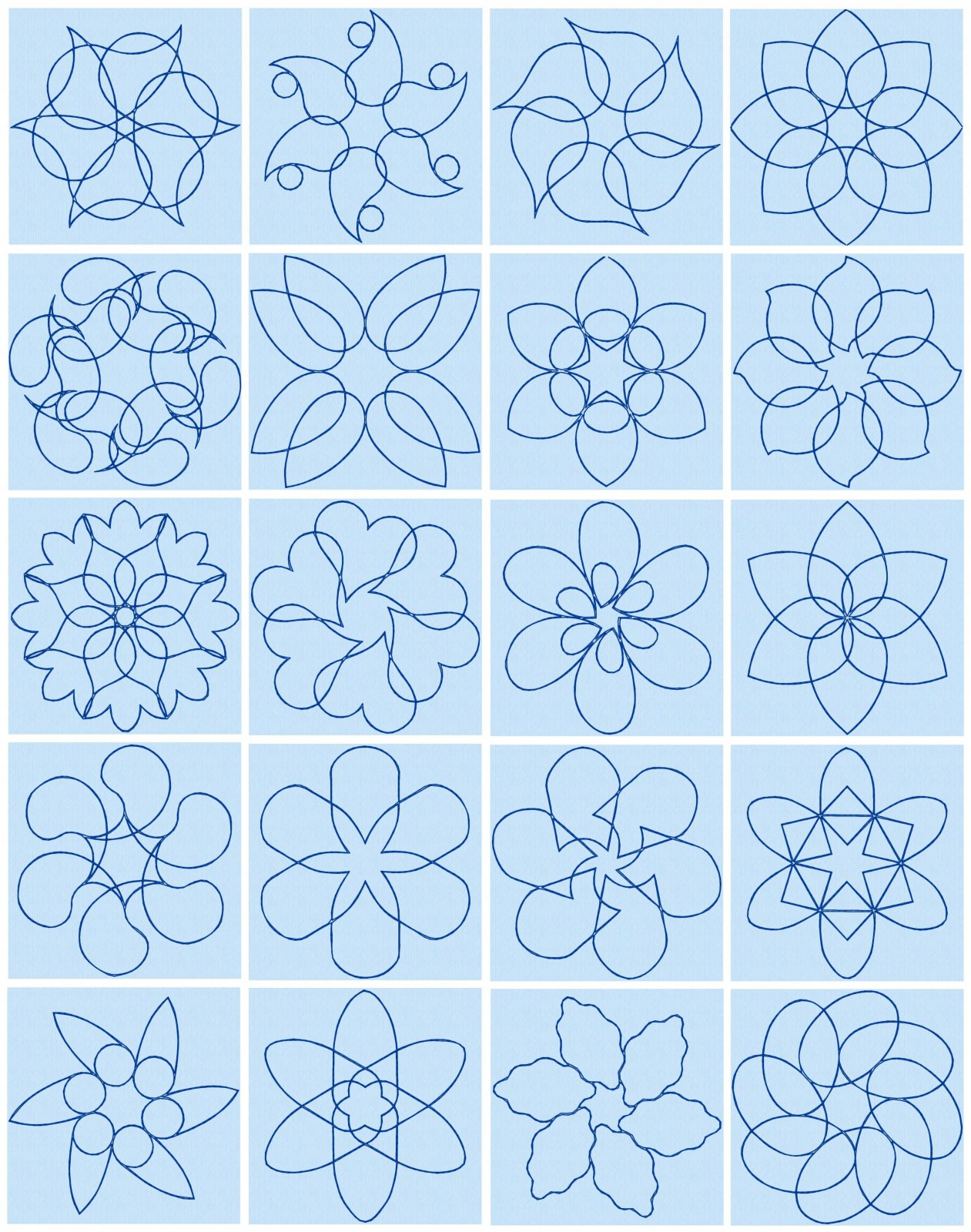 20 Petal Quilt Block Embroidery Designs by Spencer Carter
