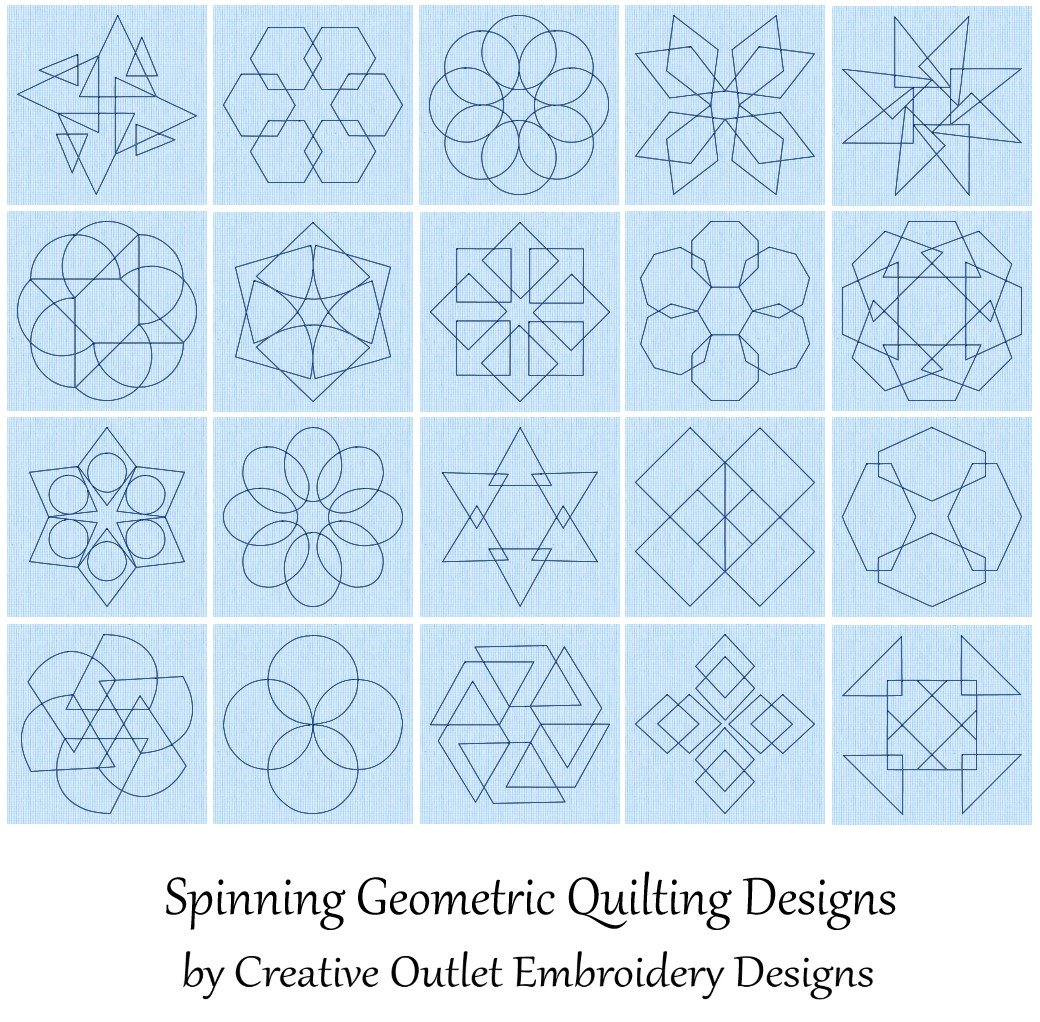 20 Spinning Geometrics Quilt Embroidery Designs by Spencer Carter