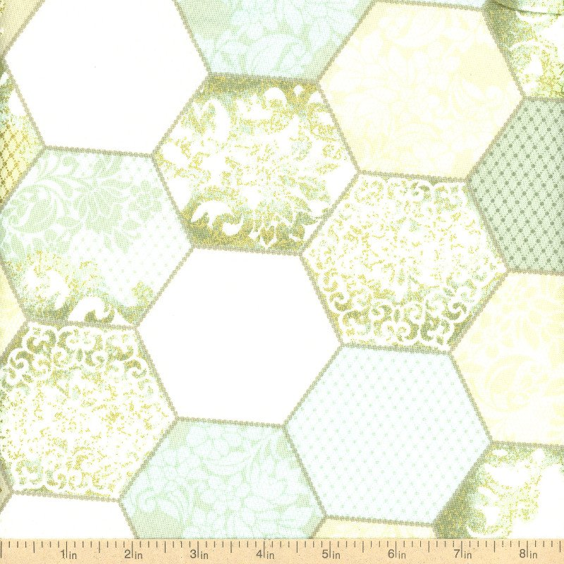 Downtown lace teal/green hexagon