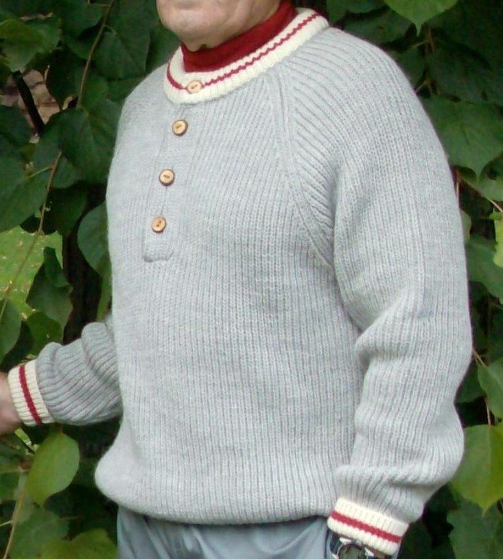 Classic crew sweater with buttons, worksock