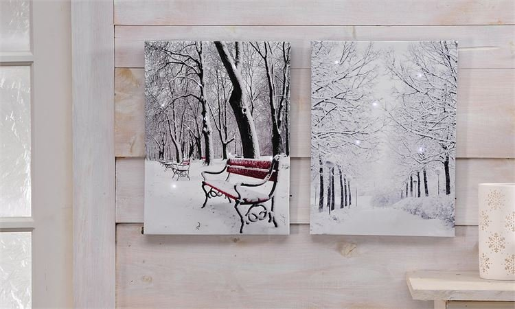 Winter tree LED canvas print