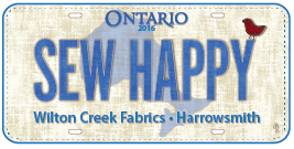 Sew Happy, row by row,  licence plate, 2016