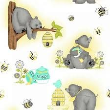 Kiddie Bear Print Flannel White