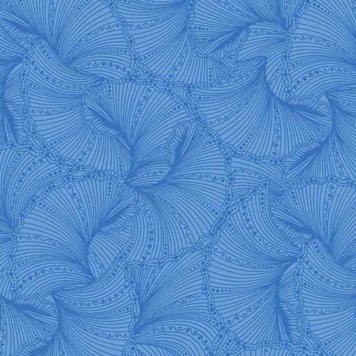 Peacock Flourish Blue Tonal