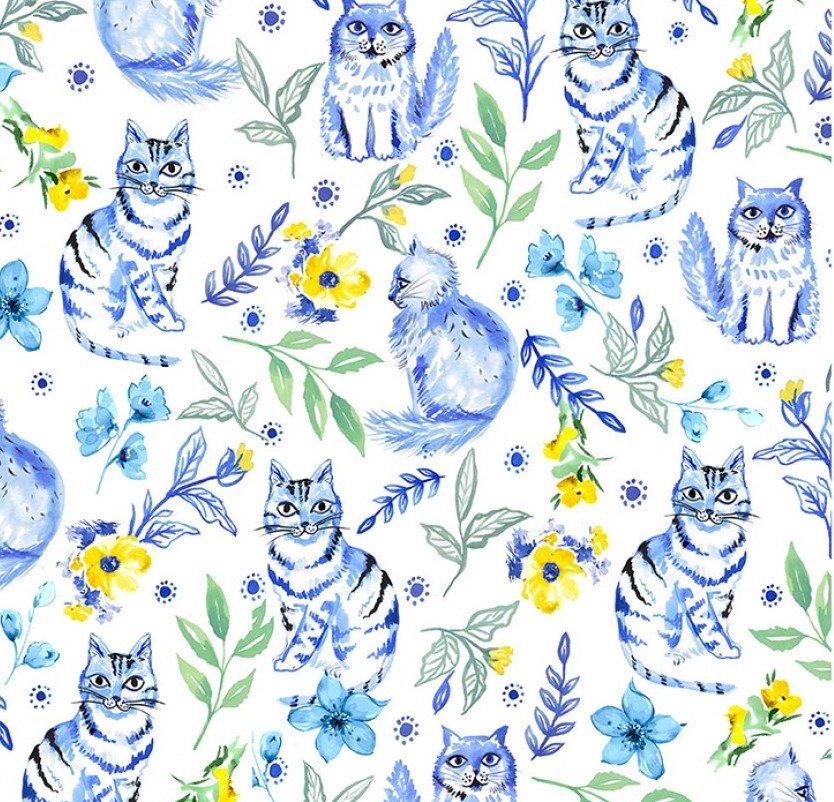 Blue Muse Garden Cat on White