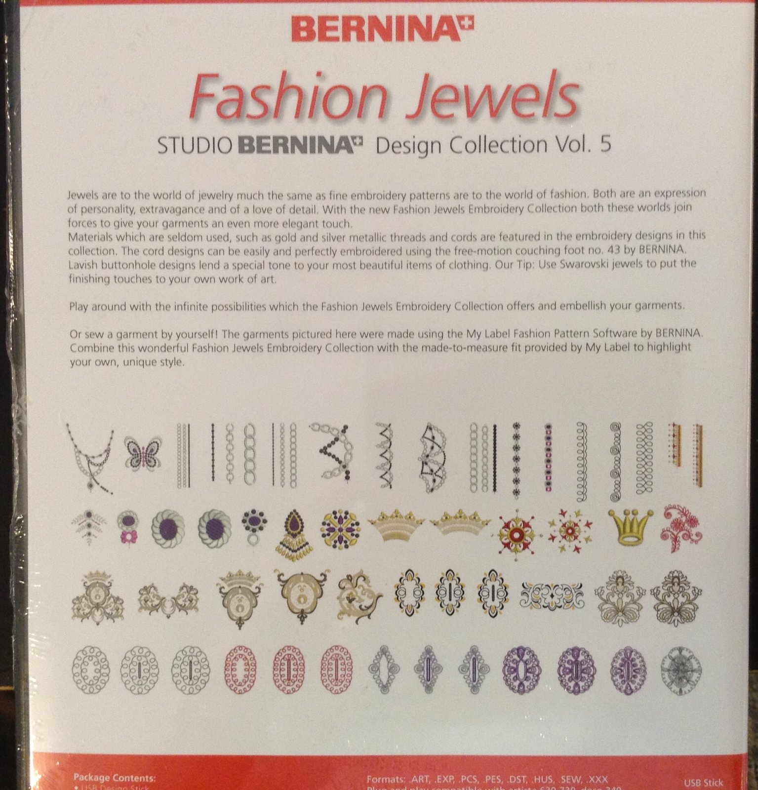 Fashion jewels embroidery on USB