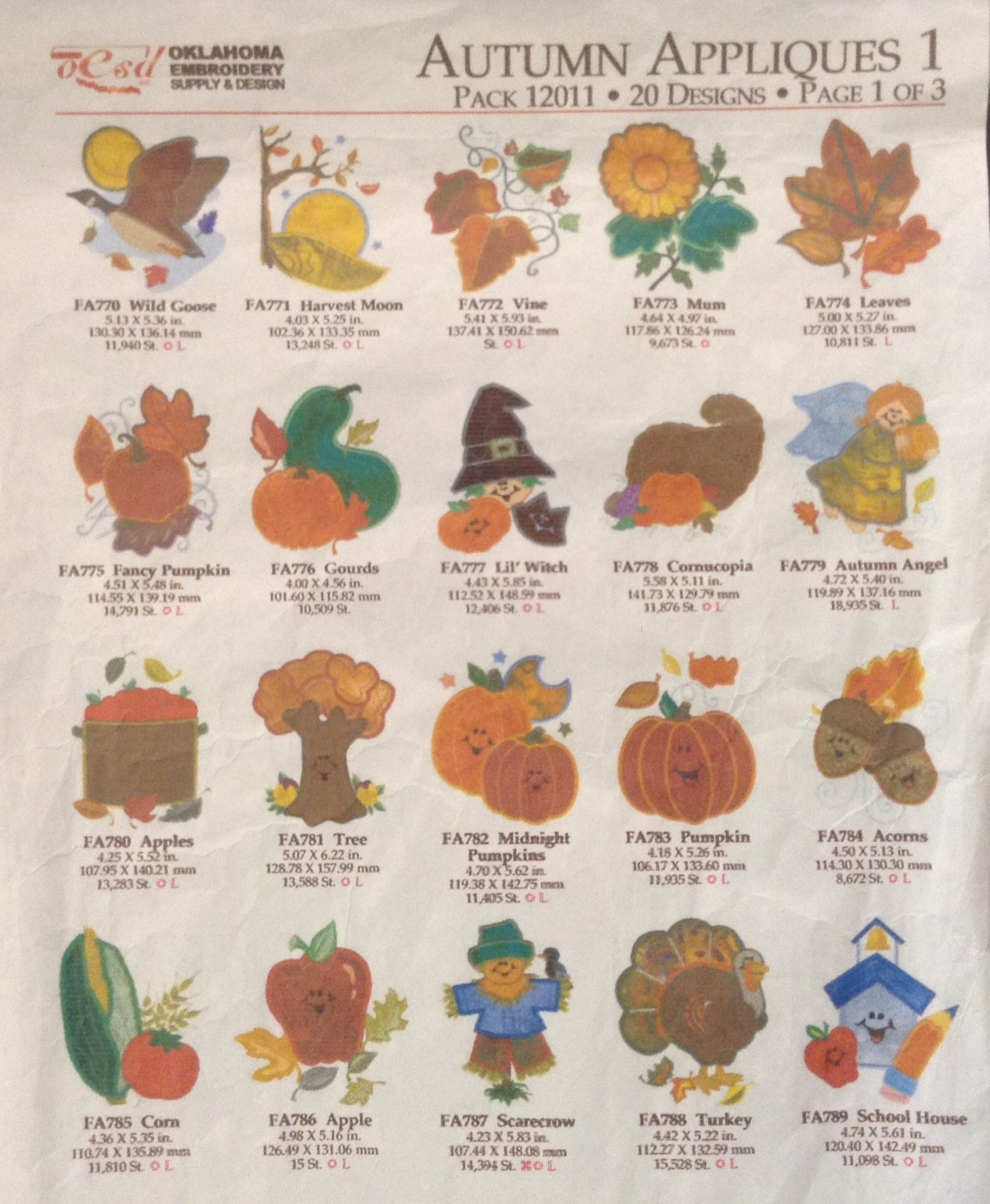 Autumn appliques, design CD, art format