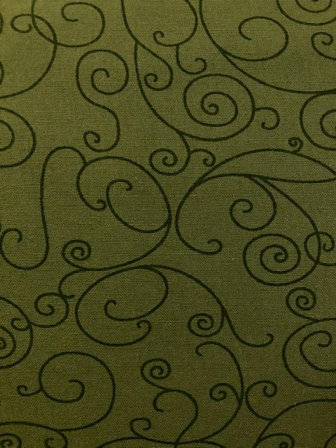Army Green Scroll Wide Backing 110in