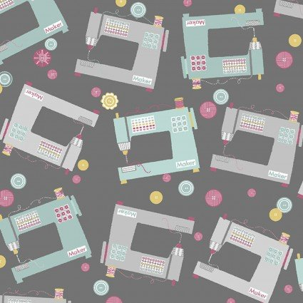 Sewing Theme - Sewing Machines on Grey