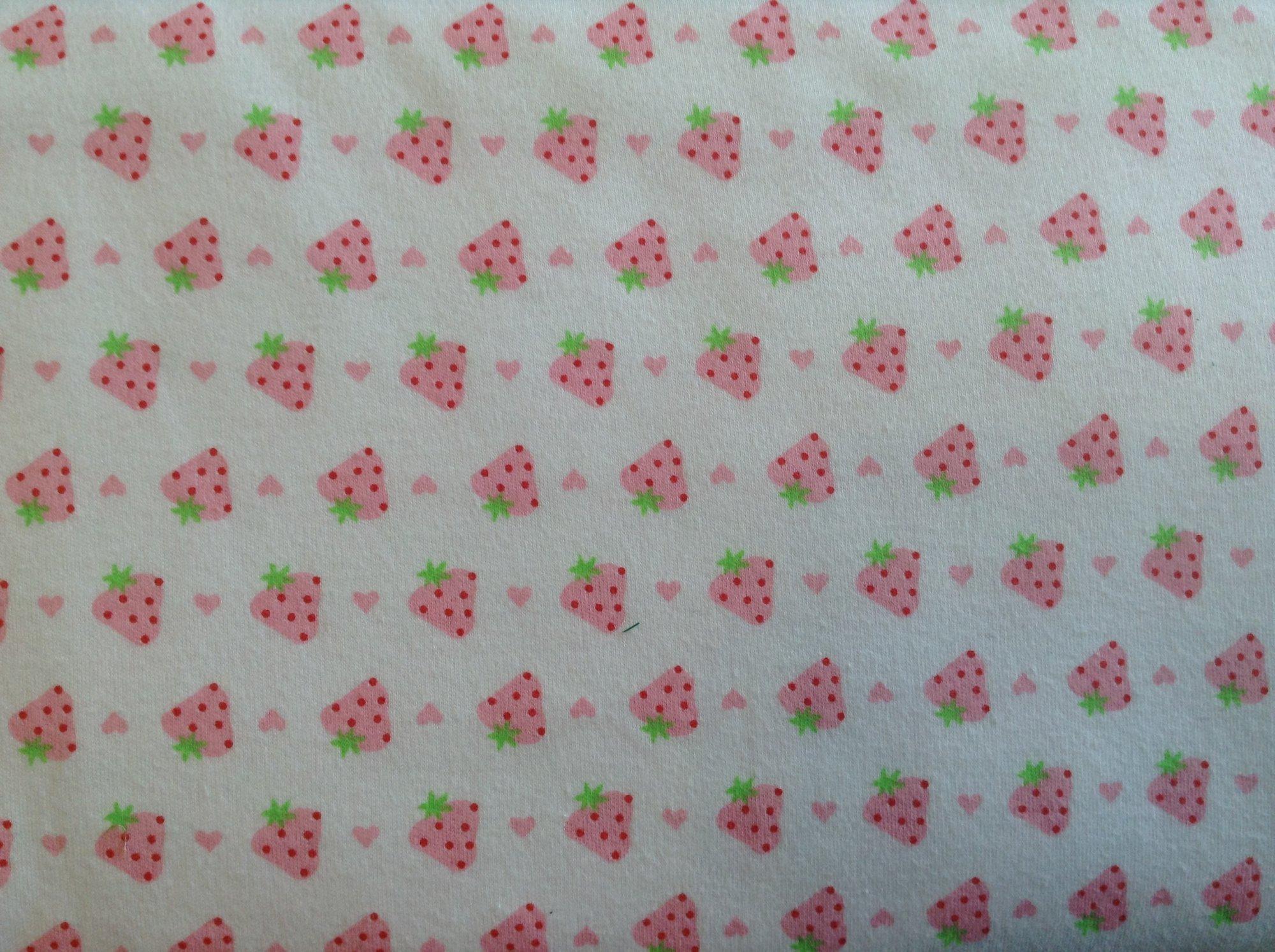 100% cotton, printed interlock, strawberries