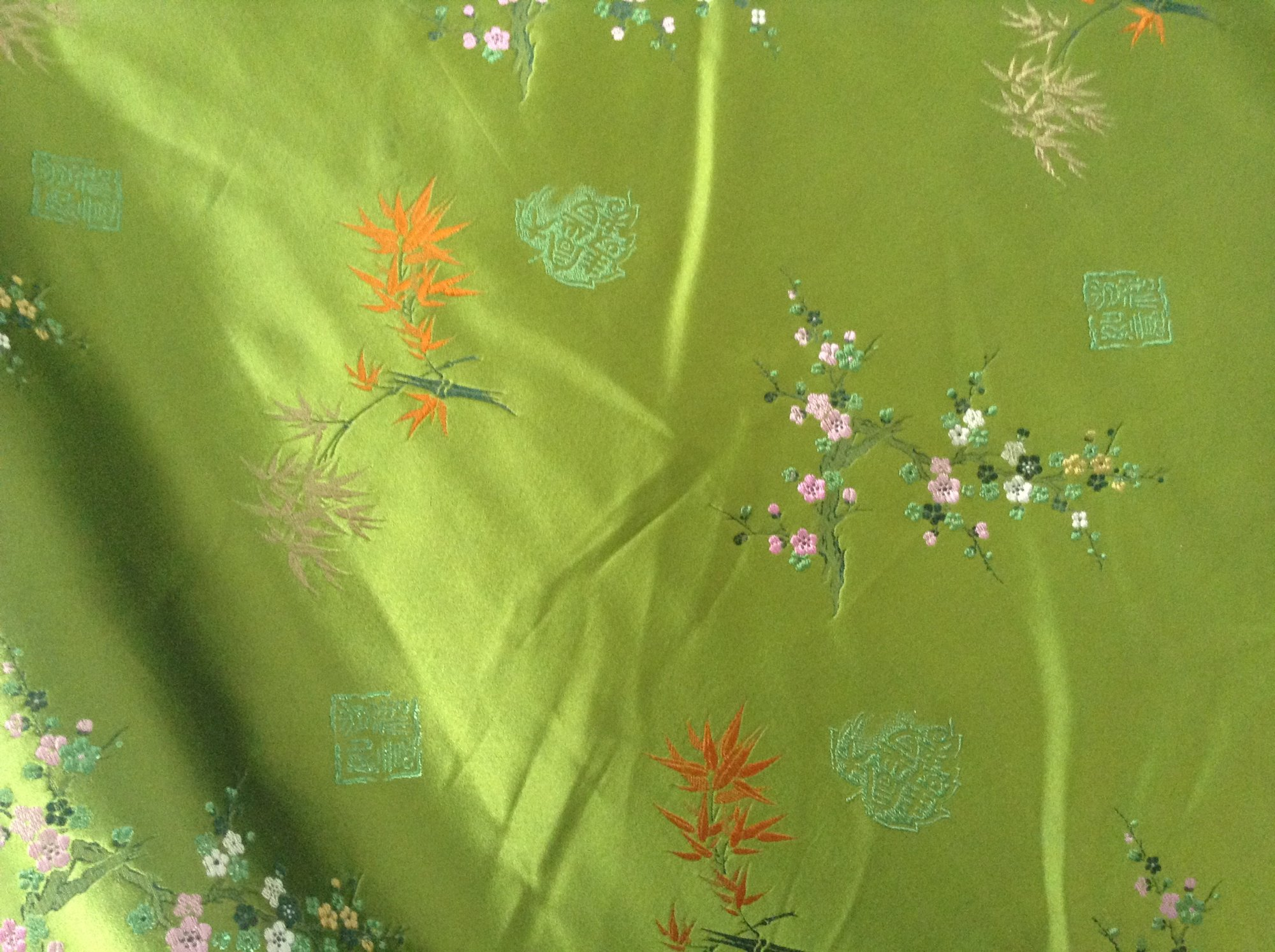 Brocade, silk satin, embroidered, green