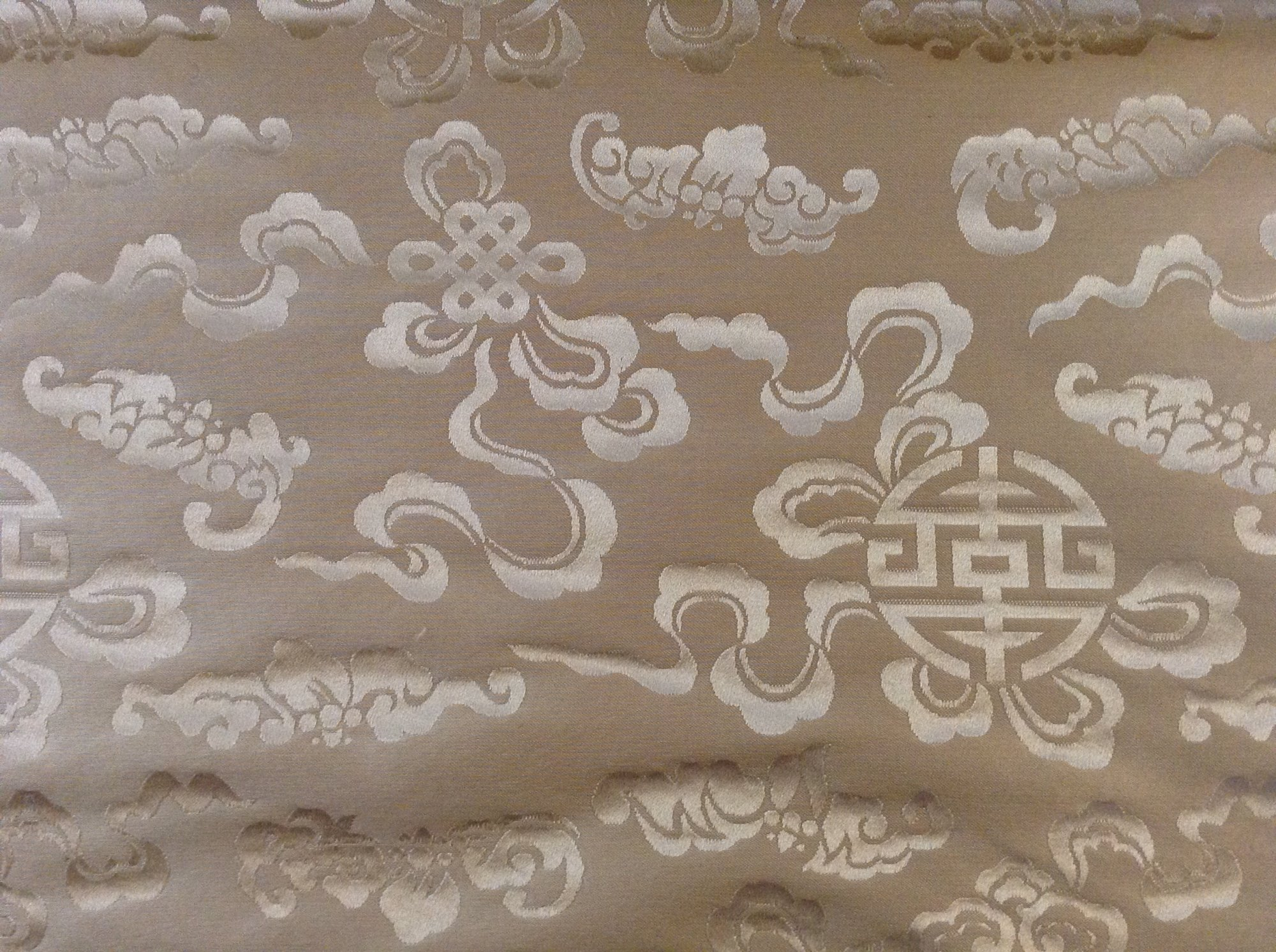 Brocade, silk satin, embroidered, gold on gold