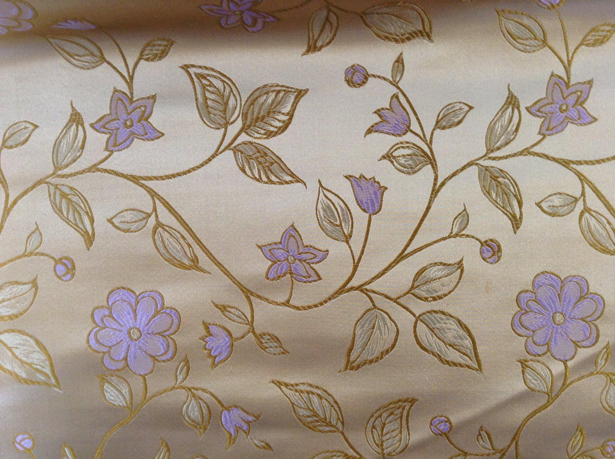 Brocade, silk satin, embroidered, gold, pink floral